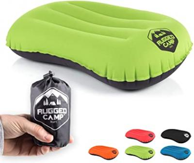 Rugged Camp Camping Pillow - Ultralight Inflatable Travel Pillows - Multiple Colors - Compressible, Lightweight, Ergonomic Neck & Lumbar Support - Perfect for Backpacking or Airplane Travel 10